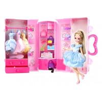 Šatní skříň v kufříku s panenkou a doplňky Inlea4Fun LELIA STAR CLOSET
