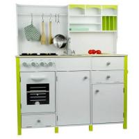 Inlea4Fun dětská dřevěná kuchyň MERYS s výstrojí - zelená / bílá