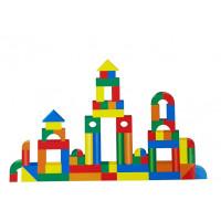 Inlea4Fun BUILDING BLOCK dřevěné barevné tvary 131 kusů