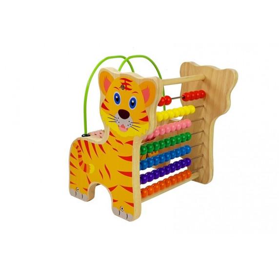 Dřevěné počítadlo s číslicemi Inlea4Fun  Tiger