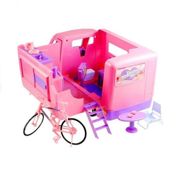 Inlea4Fun MY DREAM HOME Růžový karavan s kolem
