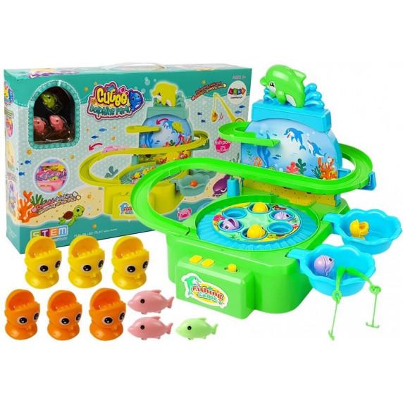 Inlea4Fun DOLPHIN PARK Dětský rybářský set - zelený