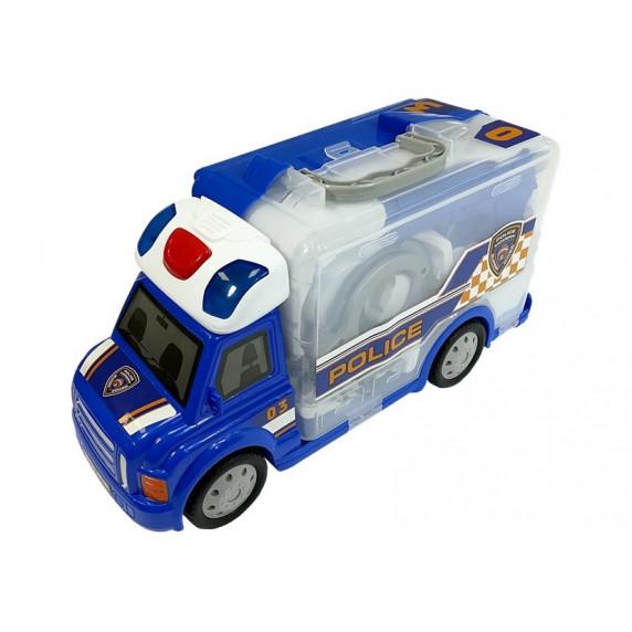 Policejní auto v kufříku s příslušenstvím Inlea4Fun POLICE STORAGE