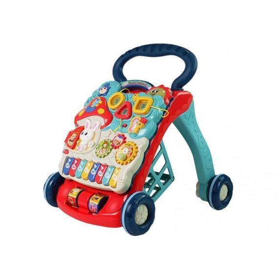Inlea4Fun BABY WALKER Dětské edukační chodítko - Modré / červené
