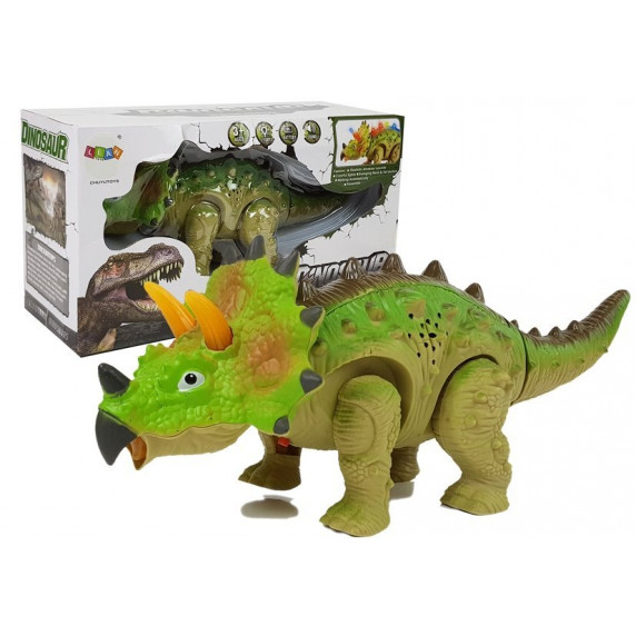 Dinosaurus figurka na baterie - Triceratops Inlea4Fun - zelený