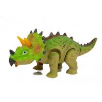 Inlea4Fun Dinosaurus figurka na baterie - Triceratops zelený