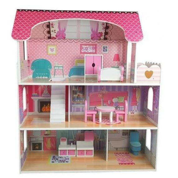 Dřevěný domeček pro panenky Inlea4Fun MILENA