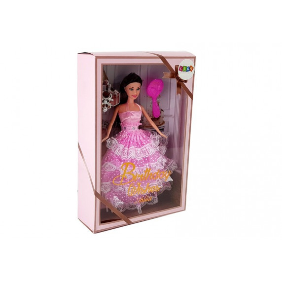 Dlouhovlasá panenka Inlea4Fun BIRTHDAY WISHES 28 cm - s růžovými šaty