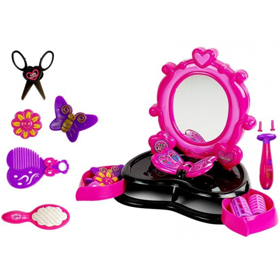 Kosmetické zrcadlo růžovo - černé Inlea4Fun DRESSING TABLE