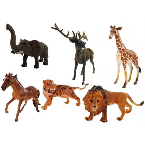 Figurky - divoké zvířata 6 ks Inlea4Fun ANIMAL WORLD Savannah