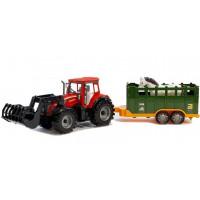 Inlea4Fun FARM TRAKTOR Dětský traktor s vlekem a koněm