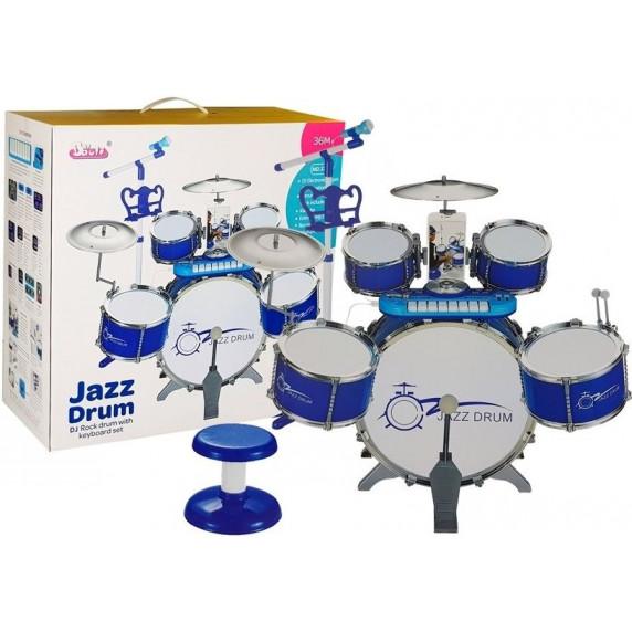 Inlea4Fun JAZZ DRUM Dětské bicí s klávesami - modré