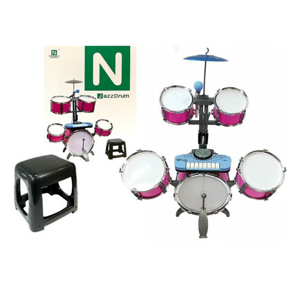 Inlea4Fun JAZZ DRUM Dětské bicí s klávesami- růžové