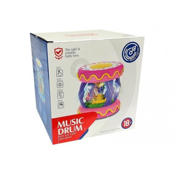 Interaktivní buben s kolotočem se světelnými a zvukovými efekty Huanger MUSIC DRUM - růžový