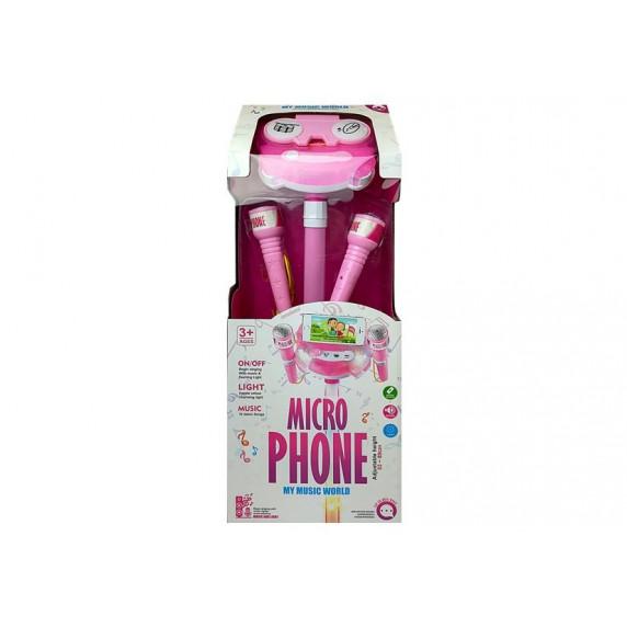 Karaoke mikrofon se stojanem Inlea4Fun MIKRO PHONE - růžový
