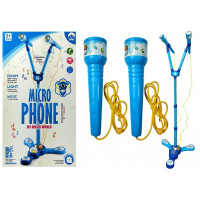 Karaoke mikrofon se stojanem Inlea4Fun MIKRO PHONE - modrý