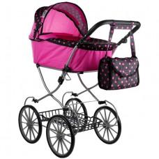 Dětský kočárek pro panenky ALICA RETRO růžovo-černý POINT + taška Preview