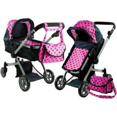 Kočárek pro panenky ALICA hluboký/sportovní 2v1 černo-růžový Preview
