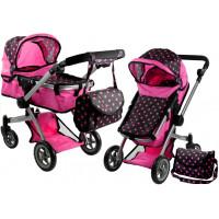 Kočárek pro panenky ALICA hluboký/sportovní 2v1 růžovo-černý