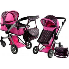 Kočárek pro panenky ALICA hluboký/sportovní 2v1 růžovo-černý Preview