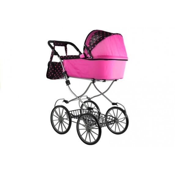 Dětský kočárek pro panenky ALICA RETRO růžovo-černý POINT + taška