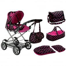 Dětský kočárek pro panenky ALICA RETRO New růžovo-černý + taška Preview