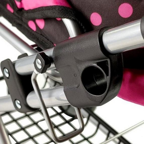 Dětský kočárek pro panenky ALICA RETRO New růžovo-černý + taška