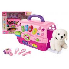 Inlea4Fun MUSIC PET HOUSE Salón krásy pro psa s nosičem - růžové Preview