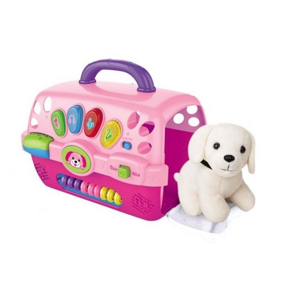 Inlea4Fun MUSIC PET HOUSE Salón krásy pro psa s nosičem - růžové