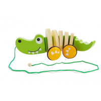 Dřevěný tahací krokodýl na kolečkách Inlea4Fun CARTOON ANIMALS
