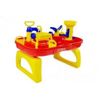 Pískoviště na stolku 2v1 Inlea4Fun BATH WORLD - červené / žluté