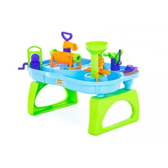 Pískoviště na stolku 2v1 Inlea4Fun WATER FUN - zelené/modré