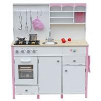 Inlea4Fun dětská dřevěná kuchyň MERYS s výstrojí - růžová / bílá