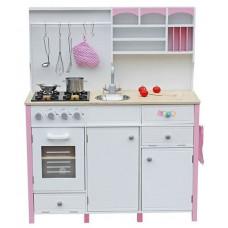 Inlea4Fun dětská dřevěná kuchyň MERYS s výstrojí - růžová / bílá Preview