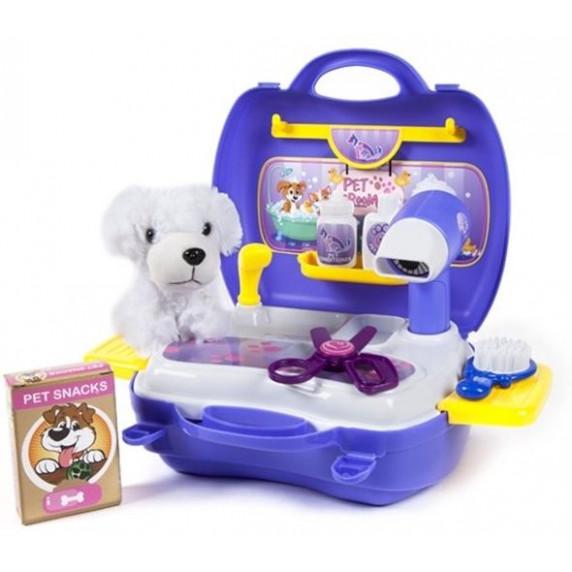 Inlea4Fun DREAM Salón krásy pro psa s kufříkem - modré