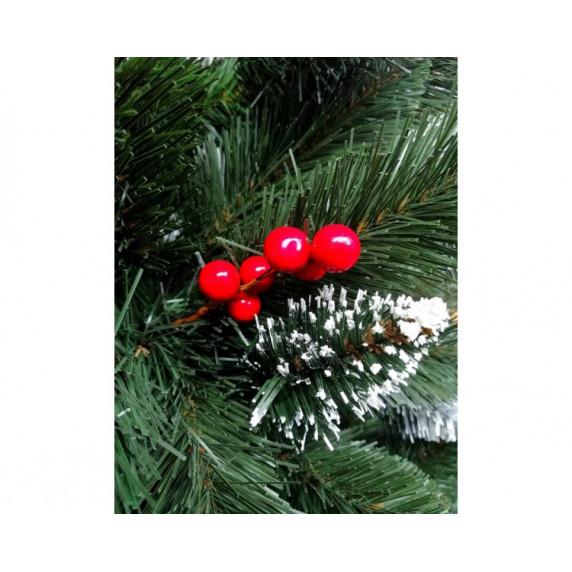 Inlea4Fun zasněžený vánoční stromek IZA 220 cm s červenými bobulemi + stojan