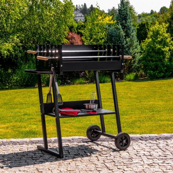 Zahradní obdélníkový gril na dřevěné uhlí MIR6045 - černý