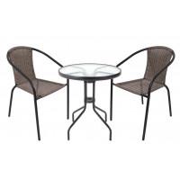 Zahradní sestava stůl + 2 židle Ingarden HERKULES II - šedá