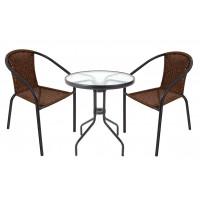 Zahradní sestava stůl + 2 židle Ingarden HERKULES II - tmavohnědá