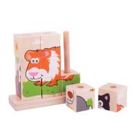 Dřevěné navlíkací kostky - puzzle Bigjigs - zvířátka