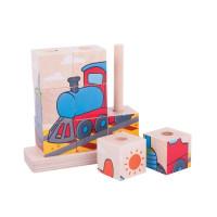 Dřevěné navlíkací kostky - puzzle Bigjigs - dopravní prostředky