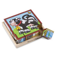Dřevěné obrázkové kostky 16 ks Melissa & Doug - farma