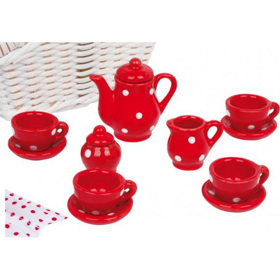 Dětská čajová souprava s piknikovým košem - bílá puntíkatá