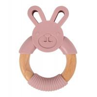 Dřevěné kousátko se silikonovým králíčkem - růžové