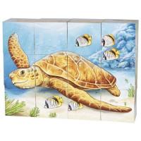 Dřevěné obrázkové kostky Goki - zvířátka
