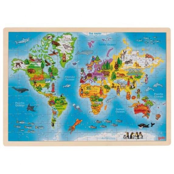 Dřevěné puzzle Goki - mapa světa