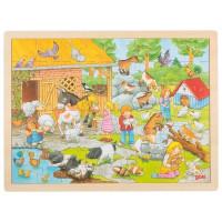 Dřevěné puzzle Goki - farma