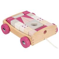 Dřevěný vozík s barevnými kostkami 20 kusů Goki - růžový