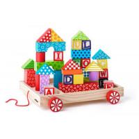 Dřevěný vozík s barevnými kostkami 35 ks Woody