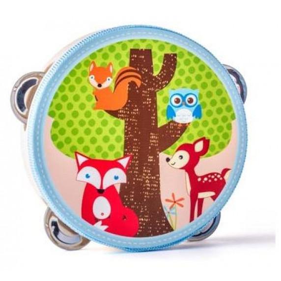 Dětská dřevěná tamburína Woodyland - lesní zvířata